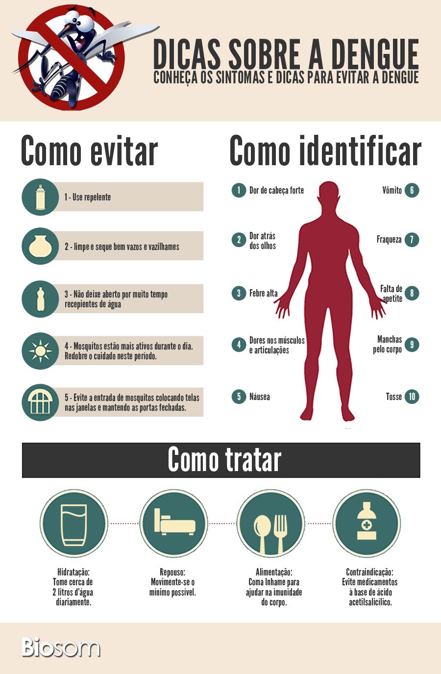dengue sintomas tratamento infográfico
