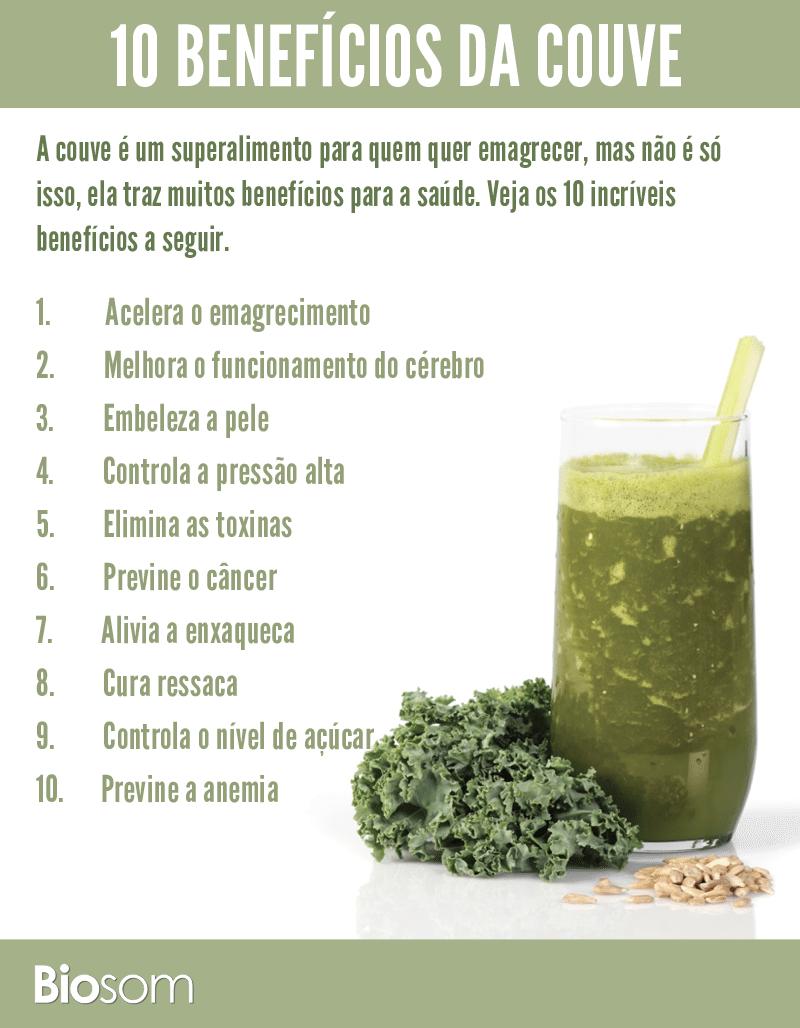 10 benefícios da couve par aa saúde