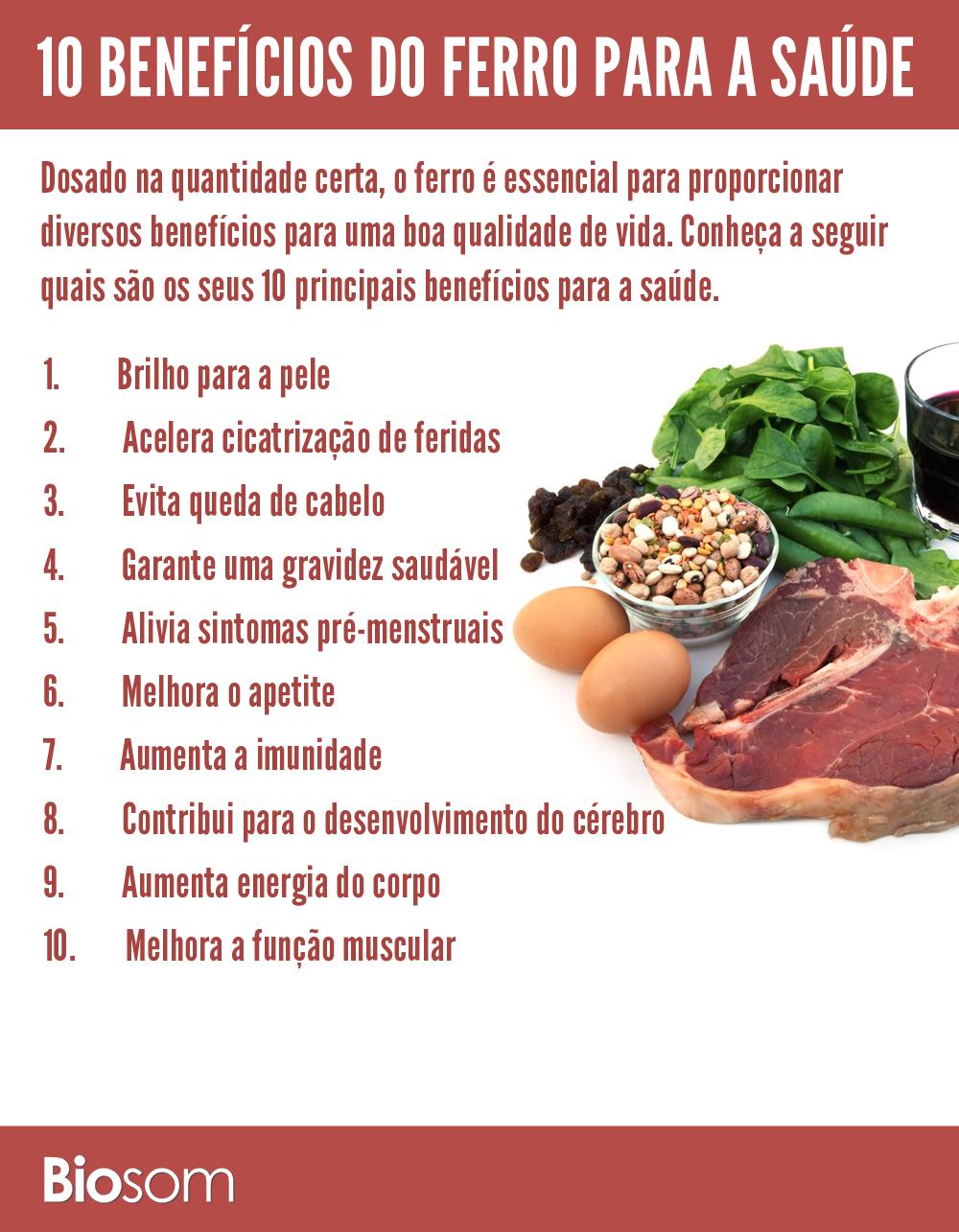 benefícios do ferro para a saúde