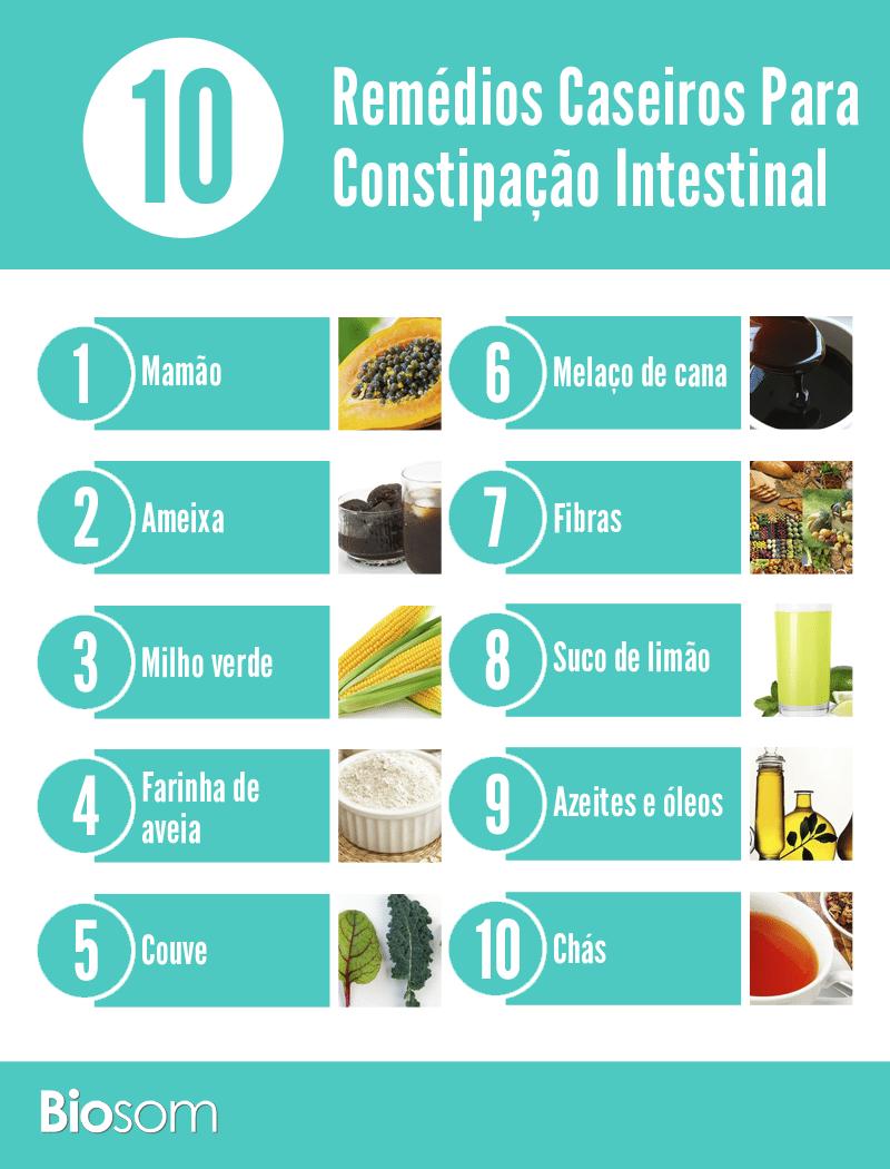 remédios caseiros para constipação intestinal - infográfico