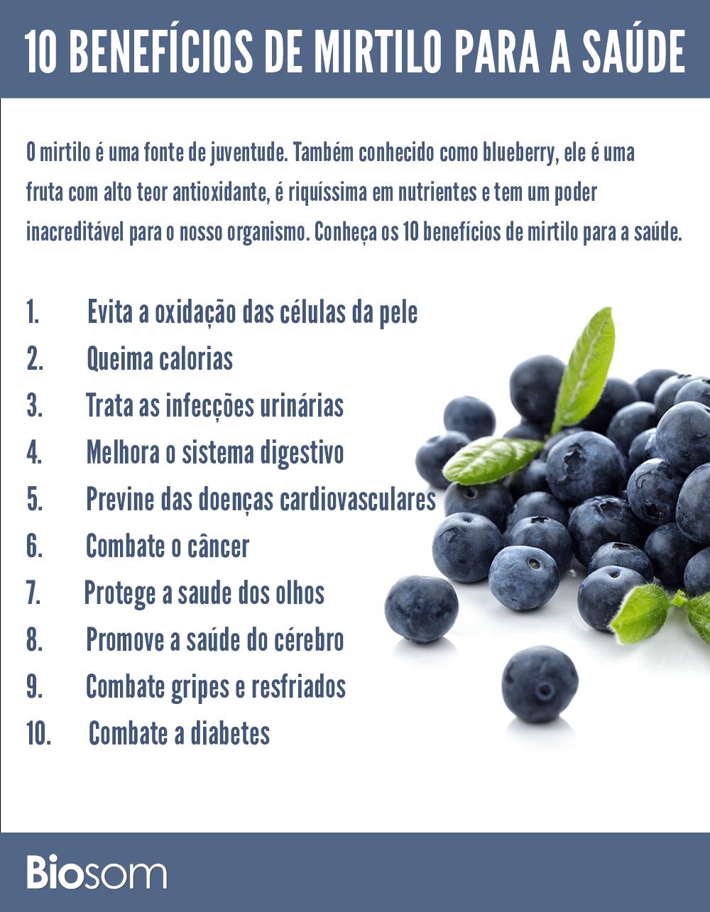 10 benefícios do mirtilo para a saúde - infográfico
