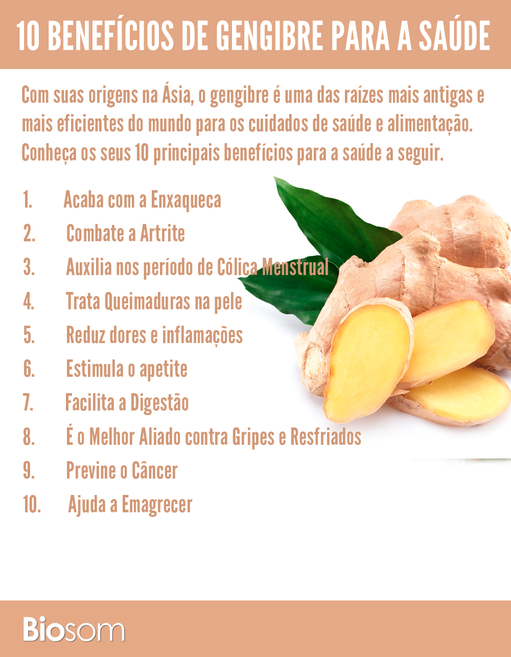 10 benefícios do gengibre para a saúde