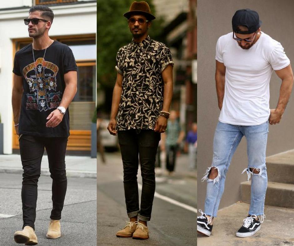 looks masculinos com calça jens, tenis e camiseta