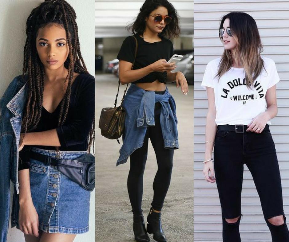 looks descolados usando jeans, preto e camiseta